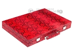 Hector Saxe Python Leather Backgammon Set - Red - Item: 2745