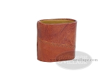 Patched Leather Backgammon Dice Cup - Oval - Brown