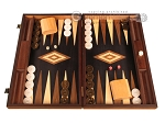 Olive Root Backgammon Set - Large - Black Field - Item: 2884