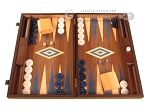 Walnut Backgammon Set - Large - Blue - Item: 2833