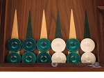 picture of Walnut Backgammon Set - Large - Green (8 of 12)