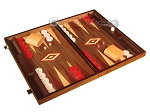 Walnut Backgammon Set - Large - Red