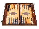 Walnut and Oak Backgammon Set - Large - Blue - Item: 2843