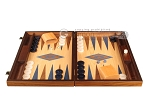 Walnut and Oak Backgammon Set - Large - Blue