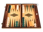 Walnut and Oak Backgammon Set - Large - Green - Item: 2842