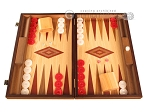 Walnut and Oak Backgammon Set - Large - Red - Item: 2841