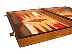 Walnut and Oak Backgammon Set - Large - Red