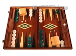 Mahogany Backgammon Set - Large - Green - Item: 2852