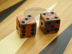 5/8 in. Square High Gloss Swoosh Dice - Bronze (1 pair) - Item: 1871