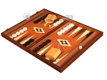 picture of 19-inch Wood Backgammon Set - Mahogany with Printed Field and Side Racks (3 of 12)
