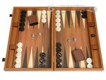 19-inch Wood Backgammon Set - Walnut with Side Racks - Item: 3977