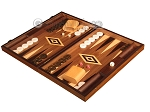 Zebrano Backgammon Set - Large - Walnut Field
