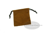 Deluxe Brown Felt Dice Bag - (4 in. x 5 in.) - Item: 1768