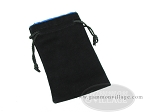 Black Velvet Dice Bag With Blue Satin Lining - (5 in. x 8 in.) - Item: 1753