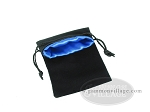 picture of Black Velvet Dice Bag With Blue Satin Lining - (5 in. x 8 in.) (2 of 2)