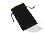 Black Velvet Dice Bag With Gold Satin Lining - (5 in. x 8 in.) - Item: 1754