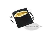 picture of Black Velvet Dice Bag With Gold Satin Lining - (5 in. x 8 in.) (2 of 2)