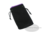 Black Velvet Dice Bag With Purple Satin Lining - (5 in. x 8 in.) - Item: 1755