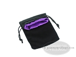 picture of Black Velvet Dice Bag With Purple Satin Lining - (5 in. x 8 in.) (2 of 2)