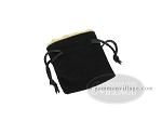 Black Velvet Dice Bag With Gold Satin Lining - (3 1/4 in. x 4 in.)