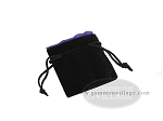 Black Velvet Dice Bag With Purple Satin Lining - (3 1/4 in. x 4 in.) - Item: 1759