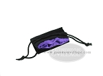 picture of Black Velvet Dice Bag With Purple Satin Lining - (3 1/4 in. x 4 in.) (2 of 2)