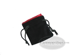 Black Velvet Dice Bag With Red Satin Lining - (3 1/4 in. x 4 in.) - Item: 1760