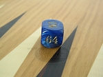 7/8 in. Backgammon Doubling Cube - Blue Marbleized - Item: 1738