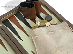 picture of Dal Negro Wood Backgammon Set - Walnut & Leather (9 of 10)