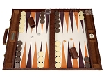 GammonVillage Tournament Backgammon Set - Champion Class - Brown with Cream Field - Item: 4019