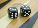 1/2 in. Rounded High Gloss Solid Dice - Black (1 pair) - Item: 1795