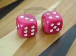 3/8 in. Rounded High Gloss Solid Dice - Pink (1 pair) - Item: 3195