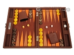 Hector Saxe Epi Leatherette Travel Backgammon Set - Brown - Item: 3891