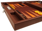 picture of Hector Saxe Epi Leatherette Travel Backgammon Set - Brown (5 of 12)