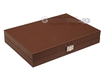 picture of Hector Saxe Epi Leatherette Travel Backgammon Set - Brown (12 of 12)