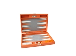 Hector Saxe Epi Leatherette Travel Backgammon Set - Orange - Item: 3892