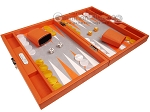 picture of Hector Saxe Epi Leatherette Travel Backgammon Set - Orange (2 of 12)