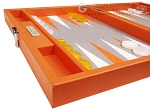Hector Saxe Epi Leatherette Travel Backgammon Set - Orange