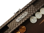 picture of Hector Saxe Cosmos Linen Travel Backgammon Set - Brown (4 of 6)