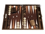 Hector Saxe Cosmos Linen Travel Backgammon Set - Brown - Item: 3884