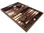 picture of Hector Saxe Cosmos Linen Travel Backgammon Set - Brown (3 of 12)