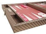 Hector Saxe Cosmos Linen Travel Backgammon Set - Taupe
