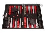 Hector Saxe Braided Leather Travel Backgammon Set - Black - Item: 3877