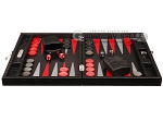 picture of Hector Saxe Braided Leather Travel Backgammon Set - Black (4 of 12)