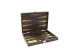Hector Saxe Braided Leather Travel Backgammon Set - Moka - Item: 3876