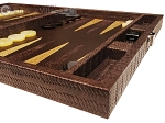 picture of Hector Saxe Braided Leather Travel Backgammon Set - Moka (6 of 12)