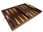 Hector Saxe Braided Leather Travel Backgammon Set - Moka