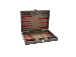 Hector Saxe Braided Leather Travel Backgammon Set - Taupe