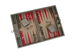 picture of Hector Saxe Braided Leather Travel Backgammon Set - Taupe (2 of 6)