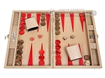 Hector Saxe Braided Leather Travel Backgammon Set - Taupe - Item: 3878
